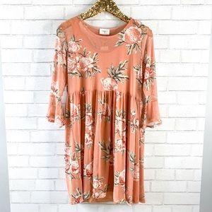 Everly Peach Floral Babydoll Dress